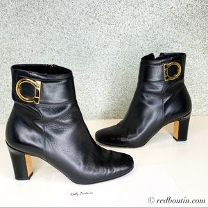 salvatore ferragamo black boot gold gancini buckle